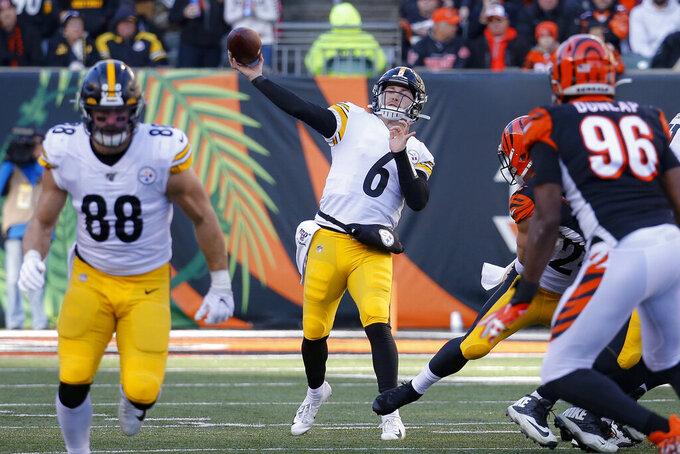 Pittsburgh Steelers quarterback Devlin Hodges (6) passes during the second half an NFL football game against the Cincinnati Bengals, Sunday, Nov. 24, 2019, in Cincinnati. (AP Photo/Frank Victores)