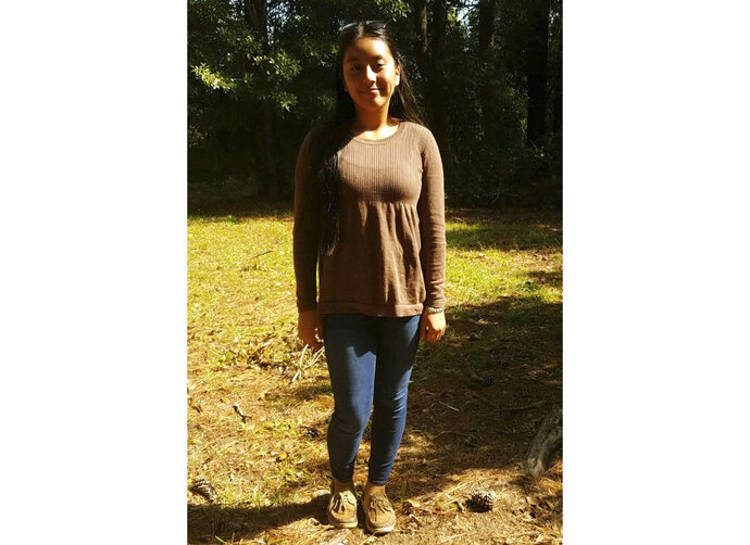 This photo provided by the FBI shows Hania Noelia Aguilar. Family members say the eighth-grader went outside Monday, Nov. 5, 2018, morning to start a relative's SUV to prepare to leave for the bus stop. Police say a man then forced her into a green Ford Expedition with the South Carolina license plate NWS 984 and drove off. The FBI says any video from the area could be helpful even if it doesn't show the suspect vehicle. An Amber Alert was issued, and the FBI is offering a $15,000 reward. (FBI via AP)