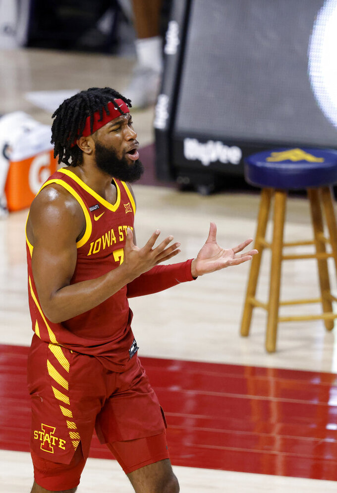 Iowa State guard Tre Jackson reacts after he was called for a foul during the second half of an NCAA college basketball game against West Virginia, Tuesday, Feb. 2, 2021, in Ames, Iowa. West Virginia won 76-72. (AP Photo/Matthew Putney)