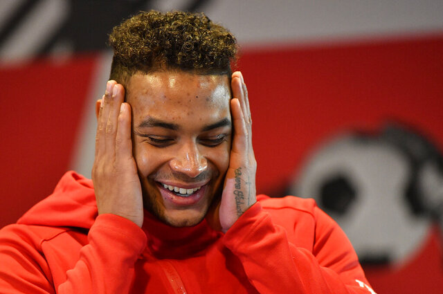 In this Wednesday, Dec. 4, 2019 photo US national goal keeper Zack Steffen, playing for the German Bundesliga soccer club Fortuna Duesseldorf, gestures during an interview with the Associated Press at the Stadium in Duesseldorf, Germany. (AP Photo/Martin Meissner)