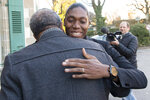 South Africa's runner Caster Semenya, current 800-meter Olympic gold medalist and world champion, hugs South Afrinca's Advocate Norman Arendse, left, as they arrive for the first day of a hearing at the international Court of Arbitration for Sport, CAS, in Lausanne, Switzerland, Monday, Feb. 18, 2019. Semenya has filed an appeal in the CAS against the International Association of Athletics Federations (IAAF) ruling, forcing female runners to medicate to reduce their testosterone levels for six months before racing internationally. (Laurent Gillieron/Keystone via AP)