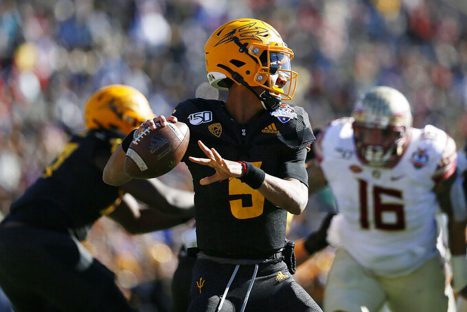 FILE - Arizona State quarterback Jayden Daniels looks to pass during the Sun Bowl NCAA college football game against Florida State in El Paso, Texas, in this Tuesday, Dec. 31, 2019, file photo. Arizona State plays Southern California at 9 a.m. Pacific time on Saturday, Nov. 7. (Briana Sanchez/The El Paso Times via AP, File)