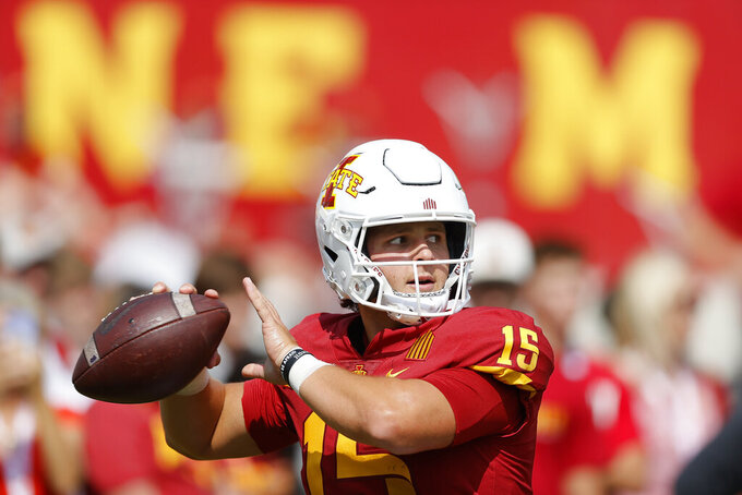 Iowa State quarterback Brock Purdy warms up before an NCAA college football game against Northern Iowa, Saturday, Sept. 4, 2021, in Ames, Iowa. (AP Photo/Matthew Putney)