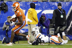 Clemson wide receiver Justyn Ross (8) runs for a touchdown as Virginia safety Joey Blount (29) misses the tackle duriung the first half of the Atlantic Coast Conference championship NCAA college football game in Charlotte, N.C., Saturday, Dec. 7, 2019. (AP Photo/Gerry Broome)