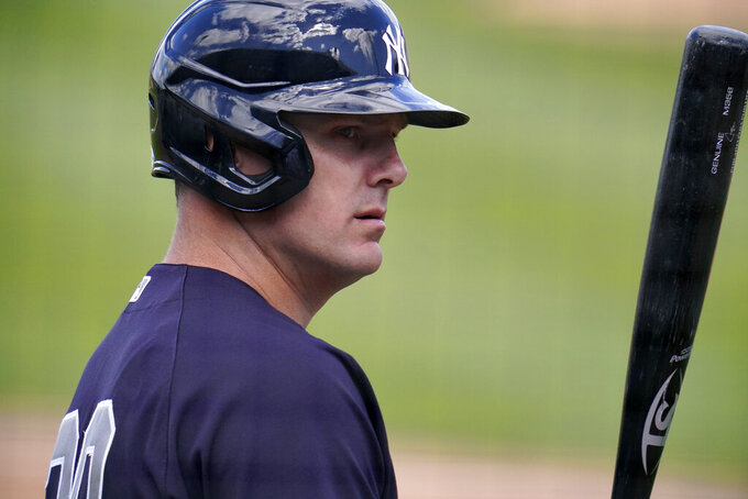 New York Yankees' Jay Bruce waits on deck during the during the second inning of a spring training exhibition baseball game against the Detroit Tigers at Joker Marchant Stadium in Lakeland, Fla., Tuesday, March 9, 2021. (AP Photo/Gene J. Puskar)
