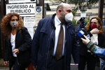 Sarno Tranquillino, lawyer of Mohammad Ibrahim Atar Kamel, is interviewed outside the courthouse in Rome, Thursday, April 29, 2021. A judge in Rome on Thursday postponed a hearing to decide if four high-ranking members of Egypt's security forces should go on trial for the abduction, torture and killing in Cairo of an Italian doctoral student. In December, Italian prosecutors, who are seeking trial indictment, formally put the four Egyptians under investigation for their alleged roles in the 2016 slaying of Giulio Regeni. (Cecilia Fabiano/LaPresse via AP)