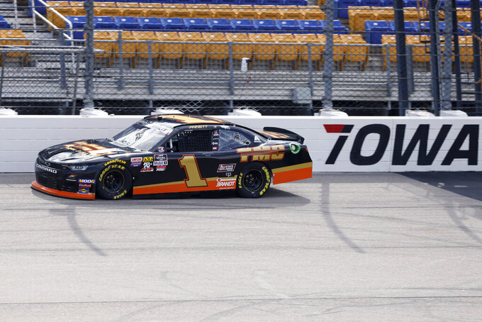 Michael Annett drives his car during practice for a NASCAR Xfinity Series auto race, Saturday, June 15, 2019, at Iowa Speedway in Newton, Iowa. (AP Photo/Charlie Neibergall)