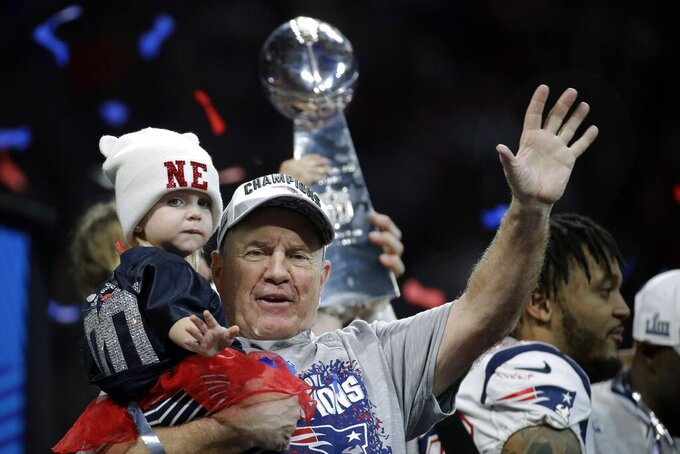 New England Patriots head coach Bill Belichick waves after the NFL Super Bowl 53 football game against the Los Angeles Rams, Sunday, Feb. 3, 2019, in Atlanta. The Patriots won 13-3. (AP Photo/Patrick Semansky)