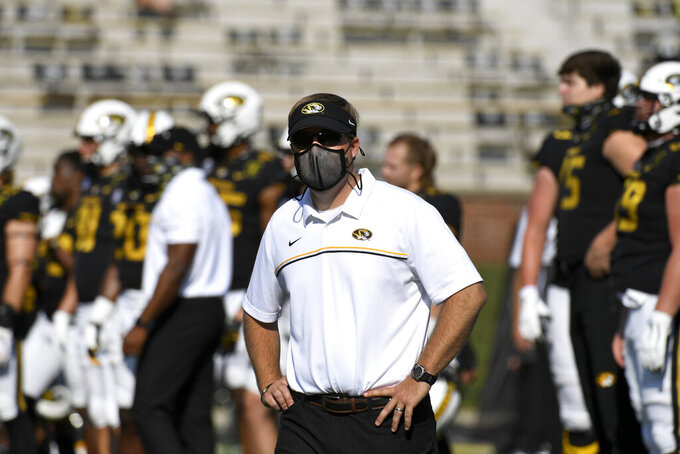 Missouri head coach Eliah Drinkwitz is seen before the start of an NCAA college football game between LSU and Missouri Saturday, Oct. 10, 2020, in Columbia, Mo. (AP Photo/L.G. Patterson)