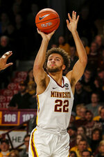 Minnesota's Gabe Kalscheur shoots against Indiana in the first half of an NCAA college basketball game Saturday, Feb. 16, 2019, in Minneapolis. (AP Photo/Bruce Kluckhohn)