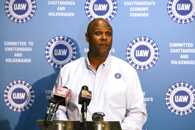 FILE - In this Dec. 4, 2015, file photo Ray Curry, a regional director of the United Auto Workers, speaks in Chattanooga, Tenn. The UAW union has replaced its auditing firm, added four internal auditors and has hired a big accounting firm to study its financial controls in an effort to prevent embezzlement and bribery discovered in a federal probe of the union. The moves announced Monday, Dec. 2, 2019 by Secretary-Treasurer Curry come after last month's resignation of President Gary Jones, who has been implicated in the scandal. (AP Photo/Erik Schelzig, File)