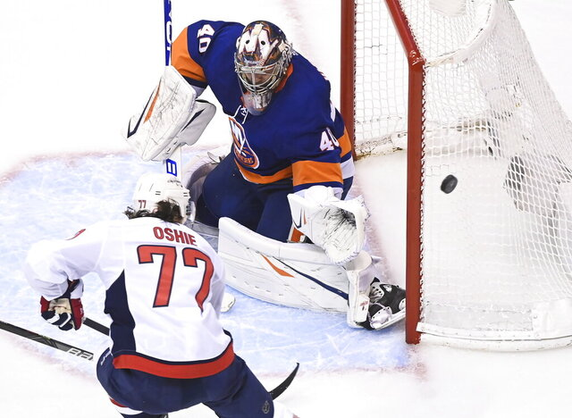 New York Islanders goaltender Semyon Varlamov (40) makes a save against Washington Capitals right wing T.J. Oshie (77) during third period NHL Eastern Conference Stanley Cup playoff hockey action in Toronto on Tuesday, Aug. 18, 2020. (Nathan Denette/The Canadian Press via AP)