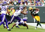 Green Bay Packers' Aaron Jones runs during the second half of an NFL football game against the Minnesota Vikings Sunday, Sept. 15, 2019, in Green Bay, Wis. (AP Photo/Matt Ludtke)