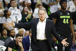 Michigan State head coach Tom Izzo reacts on the sideline during the first half of an NCAA college basketball game against Wisconsin, Friday, Jan. 17, 2020, in East Lansing, Mich. (AP Photo/Carlos Osorio)