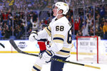 Buffalo Sabres forward Victor Olofsson (68) celebrates his goal during the third period of an NHL hockey game against the Columbus Blue Jackets, Thursday, Feb. 13, 2020, in Buffalo, N.Y. (AP Photo/Jeffrey T. Barnes)