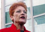 In this June 21, 2018, file photo One Nation party senator Pauline Hanson addresses the media at Parliament House in Canberra, Australia. Australia's Prime Minister Scott Morrison, on Tuesday, March 26, 2019, accused the One Nation party of trying to