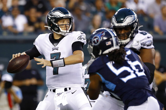 Philadelphia Eagles' Nate Sudfeld looks for a receiver during the first half of the team's preseason NFL football game against the Tennessee Titans, Thursday, Aug. 8, 2019, in Philadelphia. (AP Photo/Michael Perez)