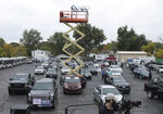 Presidential candidate Joe Biden holds a drive-in rally at UAW Local 14 in Toledo, Ohio, on Monday, Oct. 12, 2020. (Lori King/The Blade via AP)