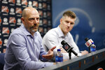 Chicago Bears head coach Matt Nagy and general manager Ryan Pace speak during an NFL football press conference at Halas Hall on Tuesday, Dec. 31, 2019, in Lake Forest, Ill. (Stacey Wescott/Chicago Tribune via AP)