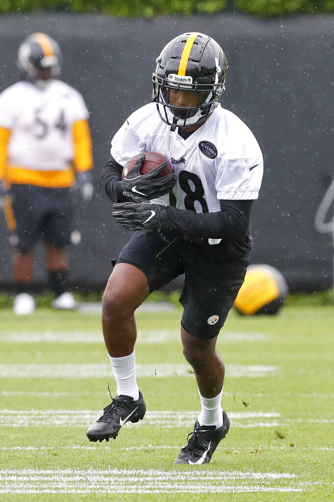 Pittsburgh Steelers 2019 third round draft pick wide receiver Dontae Johnson (18) goes through drills during NFL football rookie camp, Friday, May 10, 2019, in Pittsburgh. (AP Photo/Keith Srakocic)