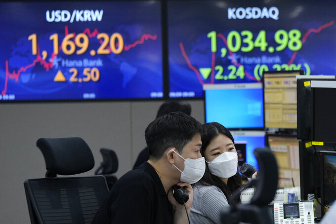 Currency traders watch monitors at the foreign exchange dealing room of the KEB Hana Bank headquarters in Seoul, South Korea, Thursday, Sept. 9, 2021. Shares fell in Asia on Thursday after further losses on Wall Street following a Federal Reserve report showing U.S. economic activity slowed this summer. (AP Photo/Ahn Young-joon)
