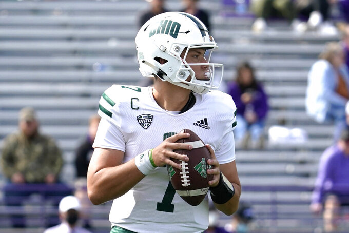 Ohio quarterback Kurtis Rourke looks to pass during the second half of an NCAA college football game against Northwestern in Evanston, Ill., Saturday, Sept. 25, 2021. Northwestern won 35-6. (AP Photo/Nam Y. Huh)
