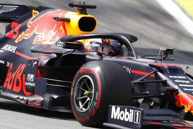 Red Bull driver Max Verstappen, of the Netherlands, steers his car during the Brazilian Formula One Grand Prix at the Interlagos race track in Sao Paulo, Brazil, Sunday, Nov. 17, 2019. (AP Photo/Nelson Antoine)