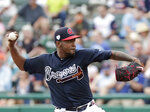 Atlanta Braves' Julio Teheran pitches against the Houston Astros in the second inning of a spring baseball exhibition game, Monday, March 4, 2019, in Kissimmee, Fla. (AP Photo/John Raoux)
