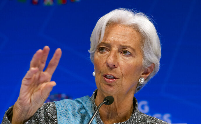 International Monetary Fund (IMF) Managing Director Christine Lagarde speaks during a news conference after the International Monetary and Financial Committee (IMFC) conference at the World Bank/IMF Spring Meetings in Washington, Saturday, April 13, 2019. (AP Photo/Jose Luis Magana)