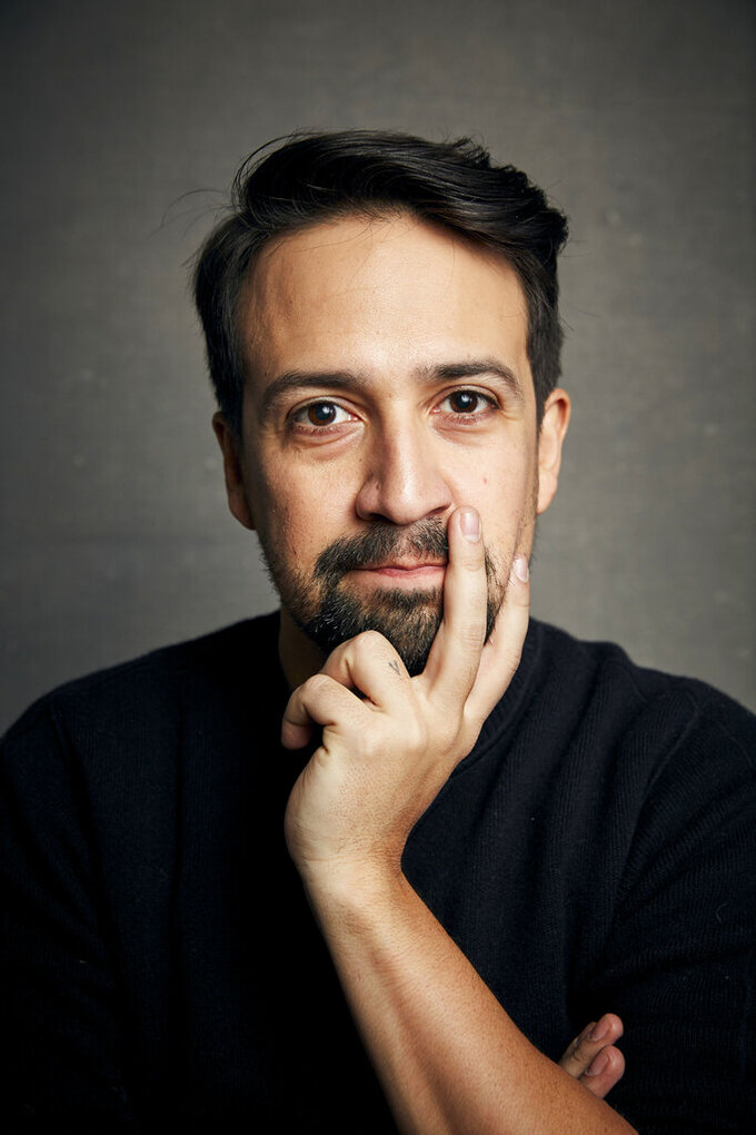 """Lin-Manuel Miranda poses for a portrait to promote the film """"Siempre, Luis"""" at the Music Lodge during the Sundance Film Festival on Saturday, Jan. 25, 2020, in Park City, Utah. (Photo by Taylor Jewell/Invision/AP)"""