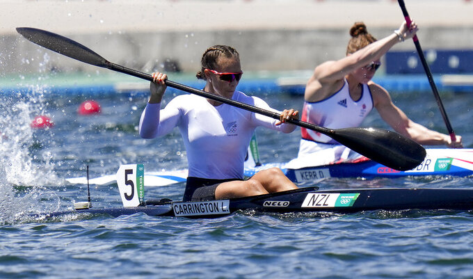 Lisa Carrington, of New Zealand, competes in the women's kayak single 200m final at the 2020 Summer Olympics, Tuesday, Aug. 3, 2021, in Tokyo, Japan. (AP Photo/Kirsty Wigglesworth)