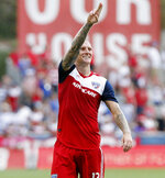 FC Dallas forward Zdenek Ondrasek (13) gestures after scoring his second goal against Sporting Kansas City, during the second half of an MLS soccer match in Frisco, Texas, Sunday, Oct. 6, 2019. (Stewart F. House/The Dallas Morning News via AP)