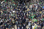 Notre Dame players greet fans as they enter the stadium before an NCAA college football game against Bowling Green, Saturday, Oct. 5, 2019, in South Bend, Ind. (AP Photo/Darron Cummings)