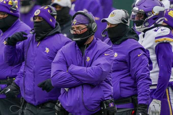 Minnesota Vikings head coach Mike Zimmer watches during the first half of an NFL football game against the Green Bay Packers Sunday, Nov. 1, 2020, in Green Bay, Wis. (AP Photo/Morry Gash)