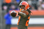 FILE - In this Dec. 22, 2019, file photo, Cleveland Browns running back Kareem Hunt reacts during an NFL football game against the Baltimore Ravens in Cleveland. The Browns opened a unique free agency period by placing a second-round tender on running back Kareem Hunt, who played eight games last season after returning from an NFL suspension. (AP Photo/David Richard, File)