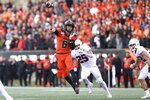 CORRECTS TO SATURDAY NOT FRIDAY  - Oregon State quarterback Jake Luton (6) throws a pass during the first half of an NCAA college football game against Stanford in Corvallis, Ore., Saturday, Sept. 28, 2019. (AP Photo/Amanda Loman)
