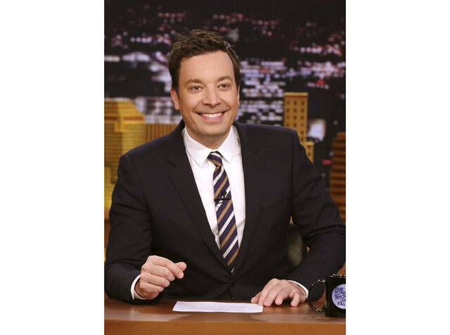 In this April 20, 2017 photo released by NBC,  Jimmy Fallon, host of