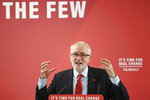 Britai's Labour Party leader Jeremy Corbyn gestures during an event, at the Park Inn By Radisson Harlow hotel, in Harlow, England, Tuesday, Nov. 5, 2019. (Stefan Rousseau/PA via AP)