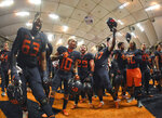Syracuse players celebrate after defeating North Carolina State in an NCAA college football game in Syracuse, N.Y., Saturday, Oct. 27, 2018. (AP Photo/Adrian Kraus)