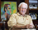 FILE - In this Nov. 8, 2007, file photo, Pro Football Hall of Fame coach Don Shula laughs during an interview at his home in Indian Creek, Fla. Shula, who won the most games of any NFL coach and led the Miami Dolphins to the only perfect season in league history, died Monday, May 4, 2020, at his home in Indian Creek, Fla., the team said. He was 90.  (AP Photo/Wilfredo Lee, File)