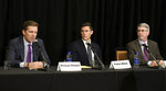From left, Wahlberg, Woodruff, Nimmo & Sloane, LLP attorneys Michael Nimmo, Parker Stinar and Dan Sloane hold a news conference regarding alleged sexual abuse claims by their clients against former University of Michigan doctor, Dr. Robert E. Anderson at the Sheraton Detroit Novi Hotel in Novi, Mich., Wednesday, March 4, 2020. (Robin Buckson/Detroit News via AP)
