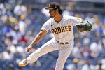 San Diego Padres starting pitcher Yu Darvish works against a Chicago Cubs batter during the first inning of a baseball game Wednesday, June 9, 2021, in San Diego. (AP Photo/Gregory Bull)
