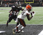 Cleveland Browns wide receiver Davion Davis catches a touchdown pass past Atlanta Falcons cornerback Darren Hall for a 19-10 lead during the fourth quarter of an NFL preseason football game on Sunday, Aug. 29, 2021, in Atlanta. The Browns missed the extra point but won the game 19-10. (Curtis Compton/Atlanta Journal-Constitution via AP)