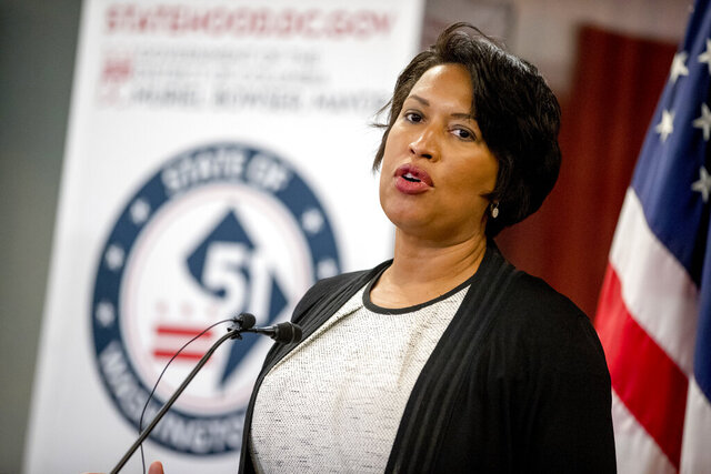 District of Columbia Mayor Muriel Bowser speaks at a news conference on District of Columbia statehood on Capitol Hill, Tuesday, June 16, 2020, in Washington. House Majority Leader Steny Hoyer of Md. will hold a vote on D.C. statehood on July 26. (AP Photo/Andrew Harnik)