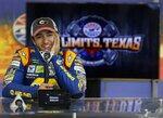 Chase Elliott talks about NASCAR tire tests at Texas Motor Speedway in Fort Worth, Texas, Tuesday, Jan. 9, 2018. (Brad Loper/Star-Telegram via AP)