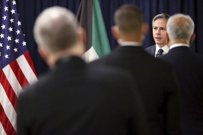 U.S. Secretary of State Antony Blinken addresses U.S. embassy staff at his hotel during a stop in Kuwait City, Kuwait Thursday, July 29, 2021. (Jonathan Ernst/Pool Photo via AP)