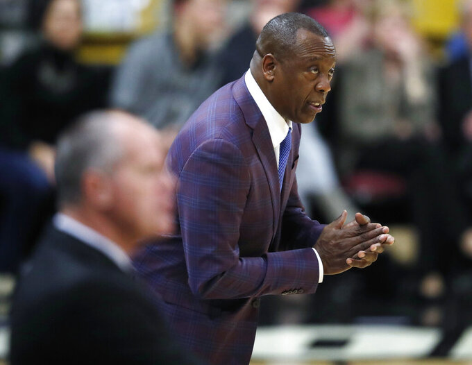 Washington State Cougars head coach Ernie Kent directs his team against Colorado in the second half of an NCAA college basketball game Thursday, Jan. 10, 2019, in Boulder, Colo. (AP Photo/David Zalubowski)