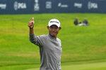 Collin Morikawa celebrates after winning the PGA Championship golf tournament at TPC Harding Park Sunday, Aug. 9, 2020, in San Francisco. (AP Photo/Jeff Chiu)