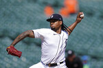 Detroit Tigers starting pitcher Gregory Soto throws during the ninth inning of a baseball game against the Seattle Mariners, Thursday, June 10, 2021, in Detroit. (AP Photo/Carlos Osorio)