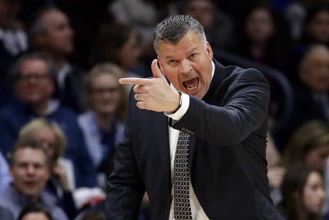 Creighton coach Greg McDermott yells to his team during the first half of an NCAA college basketball game against Villanova, Wednesday, Feb. 6, 2019, in Villanova, Pa. (AP Photo/Matt Slocum)